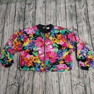 Vintage Quizz Floral Zip Up Retro Bomber Jacket M